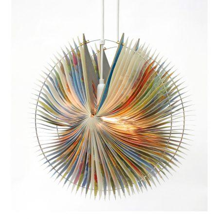 Orbit book lamp recycled atlas lamp