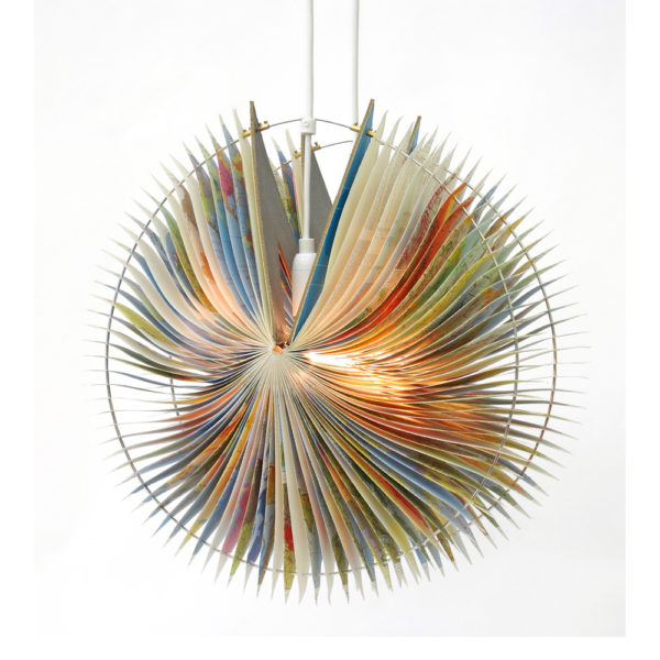 Orbit book lamp recycled atlas lamp