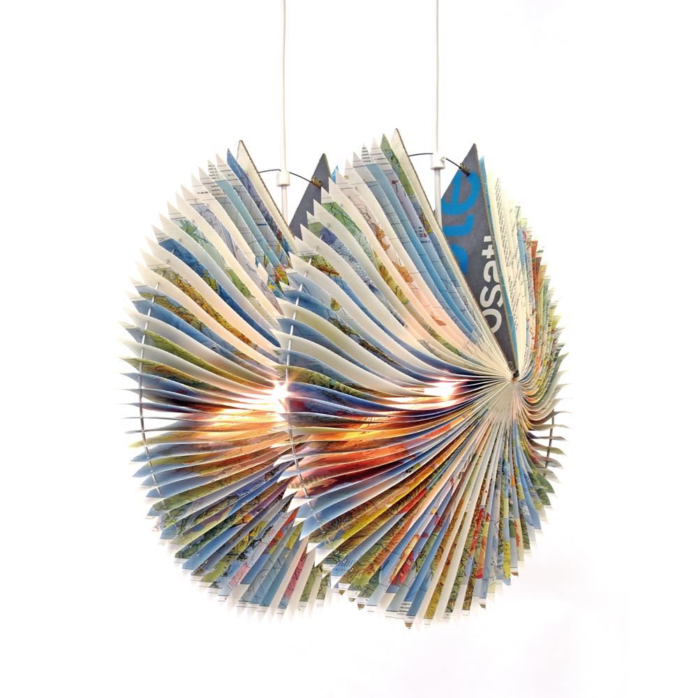 Orbit booklamp upcycled atlas lamp