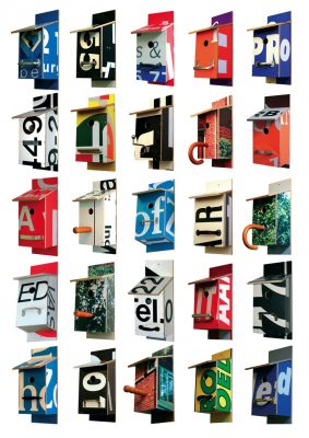 Billbirdhouse recycled typographic billboards nest box