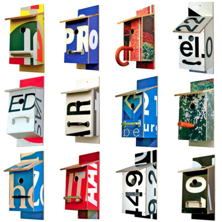 Billbirdhouse is a nest box made from recycled typographic billboards. Designed by Michael Bom in Rotterdam.